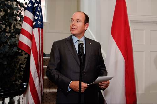 Description: H.S.H. Prince Albert II of Monaco delivering an address at the Inauguration of the Residence in Washington D.C.